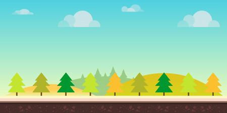 Seamless cartoon nature landscape. Hills, trees, clouds and sky,background for games mobile applications and computers. illustration for your design