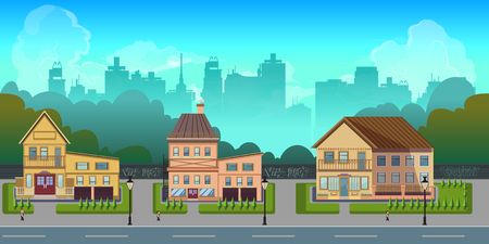 Seamless cartoon city landscape, unending background with road, buildings and sky layers