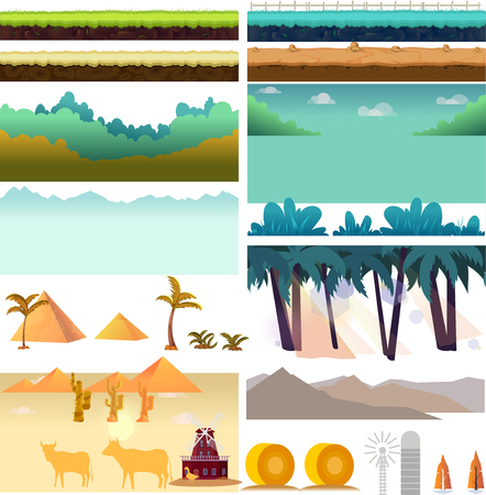 Elements for mobile game, 2d game application. Vector Illustration for your project