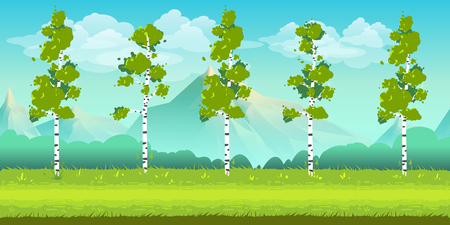 Seamless cartoon nature landscape, unending background with trees, mountains and cloudy sky layers. Vector illustration for your design. Illustration
