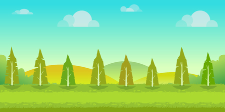 earth day: Seamless cartoon nature landscape, unending background with trees, hills and cloudy sky layers. Vector illustration for your design.