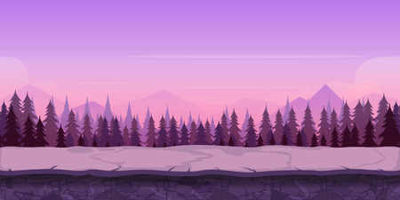 earth day: Background for your game, created in modern purple colours. Sunset and twilight time. Illustration