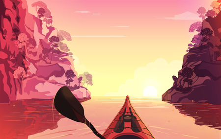 oars: Person rowing on the river in kayak. Outdoor illustration. Sunset time.