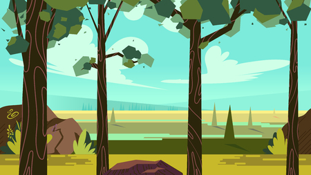 Cute cartoon seamless landscape with separated layers, summer day illustration, fits on mobile devices and may be scaled for desktop size. 1920x1080