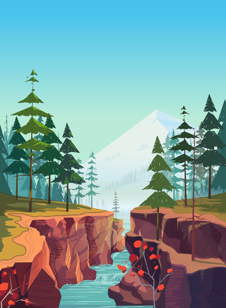 Canyon vector background, natural landscape graphics for your design Vettoriali