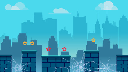 City game background, with different platforms and separated layers for games.