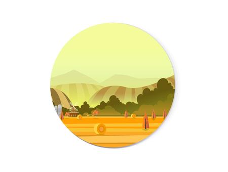 Organic farming illustration, field and mill. Vector illustration for web design development, natural landscape graphics for your design