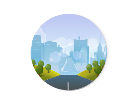 Road through the countryside into the city Vector Illustration for your application.