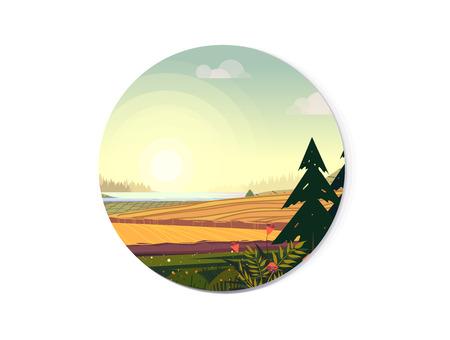 Organic farming illustration, fields and trees. Vector illustration for web design development, natural landscape graphics for your design Illustration