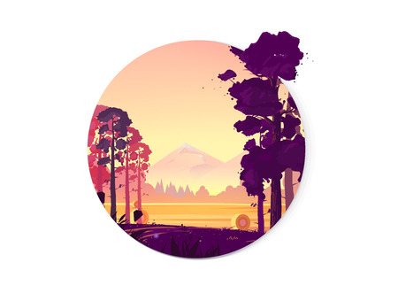 Rural landscape with a beautiful view of distant fields and mountains. Vector illustration, natural landscape graphics for your design.