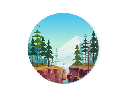 Canyon vector icon, natural landscape graphics for your design.