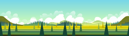 Banner With Green Landscape, Vector Illustration