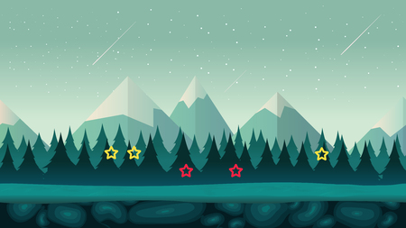 Cartoon Night Game Background , seamless background for games mobile applications and computers. Vector illustration for your design.