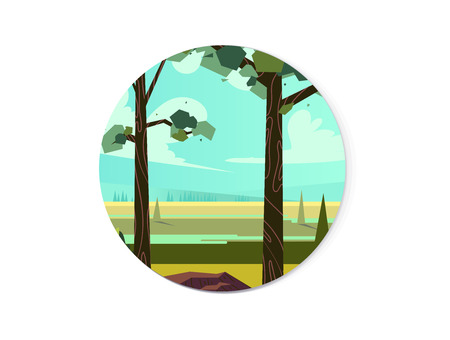 Circular summer landscape for app icon background.