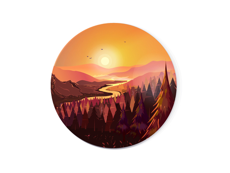 Sunrise in beautiful mountains with river and forest. Vector illustration for your design