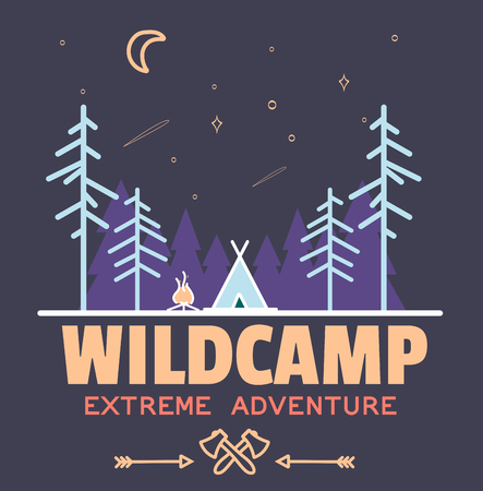 Stay Wild Camping Child ,Hand Drawn t Shirt Print,camping and adventure forest badge logo, emblem logo, label design. Vector illustration