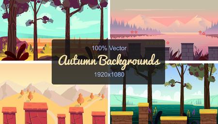 set of seamless cartoon autumn landscape, simple horizontal game locations, size 1920x1080