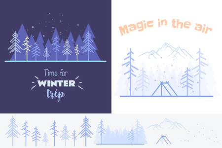 Collection of two outlined illustrations in blue colours. Outlined winter set may be used in mobile, web desig, also for print