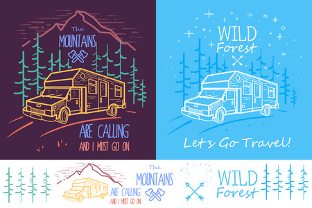 Trendy collection of two illustrations with trees, van, road and mountains on dark background. Can be used for print, web or mobile design as icon, emblem or illustration.