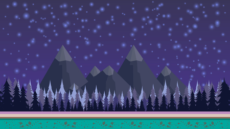Fantasy mysterious seamless background for mobile game, layered. With mountains and fores on background and stars shining at the sky