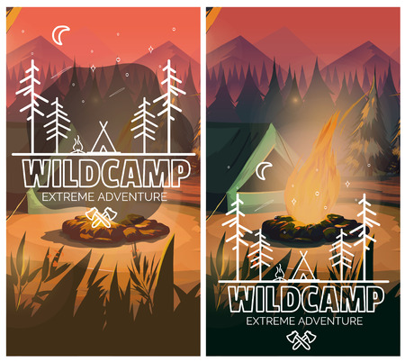 Camping vertical background poster with With tent, campfire , mountains and forest on background. Vector illustration Illustration