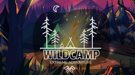 Time to travel banner Wild Camping adventure time. Vector illustration,for your application , project.