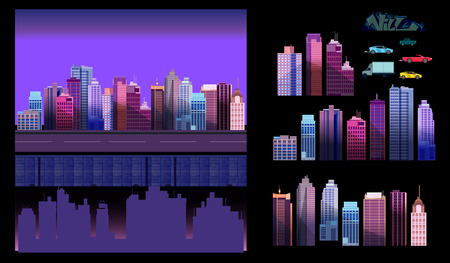 Constructor for night city background. Easy to create your own view of the city, with separate elements - buildings, road, cars,background. Illustration is vector and prepared in modern flat style