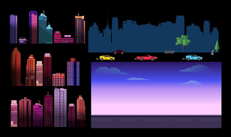 Constructor for night city background. Easy to create your own view of the city, with separate elements - buildings, road, cars,background. Illustration is vector and prepared in modern flat style.