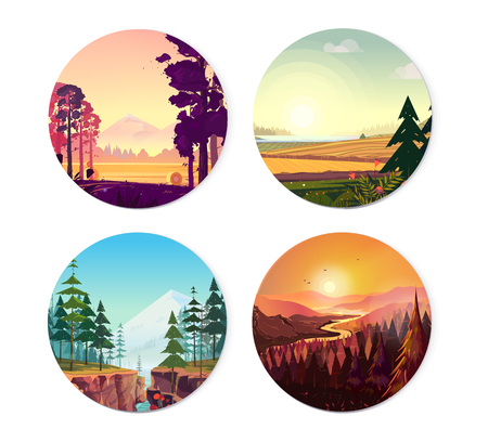 Collection of round illustrations on nature, city and sport theme. Use as logo, emblem, icon or your design work