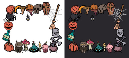 Halloween Cards. Creative design for invitation and party. Hand drawn Vector illustration for your design Illustration