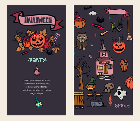 Halloween Cards. Creative design for invitation and party. Vector illustration for your design.
