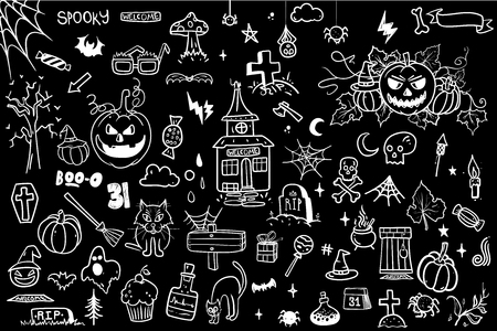 Halloween Doodle Set. Creative design for invitation and party. Hand Drawn Vector illustration for your design