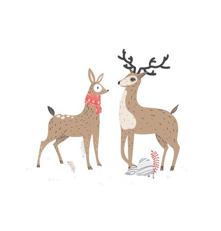 Two beautiful deers. Illustration