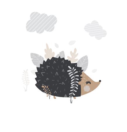 Vector illustration of cute hedgehog