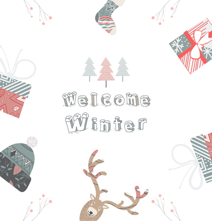 Cute Scandinavian Card, vector illustration for you project
