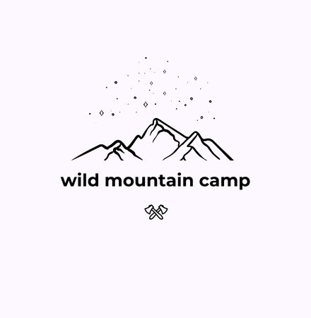 Wild Mountain Camping linear Badge