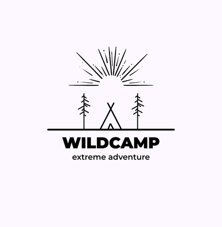 Forest Adventure Badge in outline style Illustration