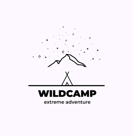 Forest Adventure Badge in outline style 矢量图像