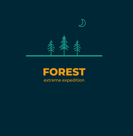 Forest Badge in outline style 免版税图像