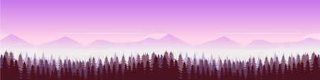 Forest and mountains, nature landscape panorama. Vector illustration for your design