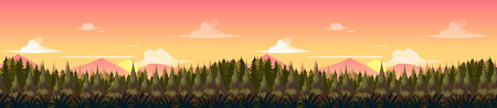 Sunset Mountains Landscape. Vector Panorama. The mountains in the background and forest in the foreground