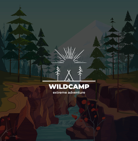 Trendy Camping logo badge in outline style. on canyon background