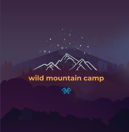 Wild mountain camping and adventure forest badge logo 矢量图像