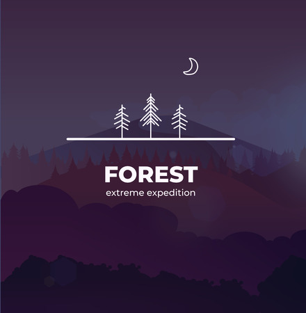 Trendy Forest logo badge in outline style. In the background vector landscape with forest and mountains, you can change the size without losing quality.