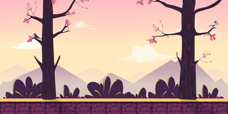 Cartoon nature landscape with trees, bushes, mountains, sky and clouds. Seamless vector background for your project