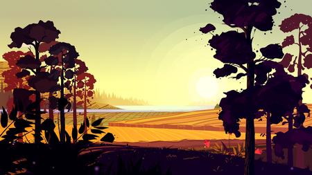Natural landscape. Vector illustration for your design 矢量图像