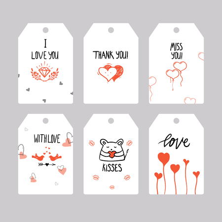 Set of greeting cards for Valentines Day. Vector collection with hand written elements. Red, black and white color labels for your design and invitation
