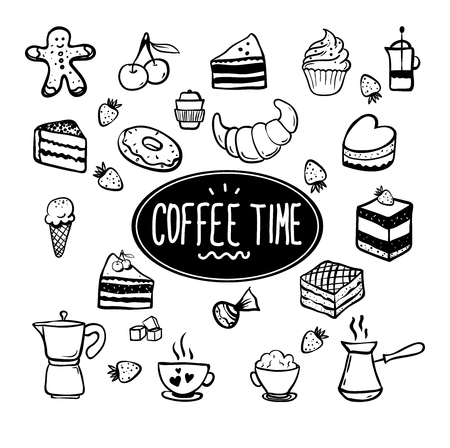 Coffee time card with elements of kitchen. Hand drawn vector illustration. You can use this for cafe, restaurant, bar, poster, banner, emblem, sticker, and other design. Illustration