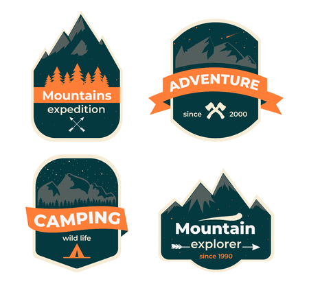Set of hand drawn travel badges. Camping labels concepts. Mountain expedition logo designs