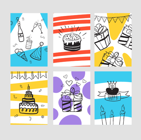 Set of birthday greeting cards. Colored cards for your design and invitation 矢量图像